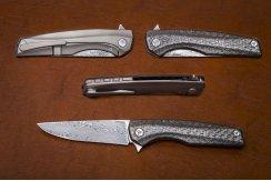 Складной нож дамаск №10 3D карбон черный