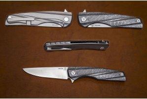 Складной нож S125V №10 3D карбон-серебро