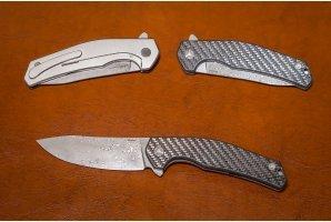 Складной нож дамаск №7 карбон